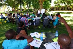 A class of the first Gondwana Training Academy in February 2015 being held in the garden of the Kalahari Farmhouse where the stationary Academy will be established in 2017.