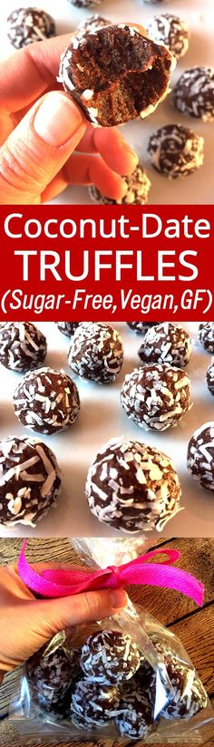 HEALTHY TRUFFLES! These amazing coconut date truffles are sugar-free, raw, vegan, gluten-free and so good for you! | MelanieCooks.com