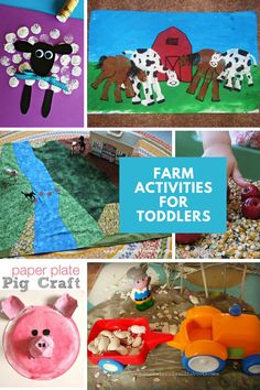 Fun farm activities for toddlers to help your tot learn all about farm animals, including Small World, crafts and book suggestions Farm Activities, Preschool Ideas, Toddler Activities, Farm Animal Party, Barnyard Party, Pig Crafts, Crafts For Kids, Farm Kids, Book Suggestions