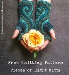 Pieces of Eight Fingerless Gloves Free Knitting and Crochet Pattern - Pieces of Eight Fingerless Gloves Free Knitting and Crochet Pattern Free Knitting Pattern: Pieces of Eight Mitts Knitting Designs, Knitting Patterns Free, Free Knitting, Knitting Projects, Crochet Projects, Crochet Patterns, Hat Patterns, Free Pattern, Pieces Of Eight