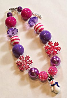Snowman Snowflake Hot Pink Purple Girls Chunky Big Beads Necklace - Little Girls - Baby Girls