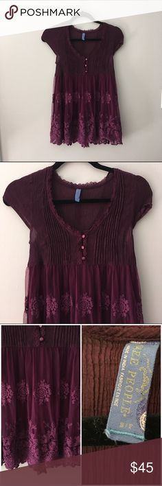Free People Embroidered Peasant Blouse Adorable embroidered peasant blouse by Free People. Semi-sheer. Great condition. No rips or stains. Length: 25-26 inches. Bust: 13 inches. Bodice: 60% cotton 40% rayon. Skirt: 100% nylon. ❌No trades❌ Free People Tops Blouses