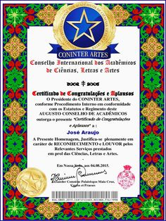 Certificate of Congratulations and Applause - Coninter - Academic Council of Sciences, Letters and Arts Brazil - South America