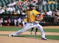 Oakland Athletics relief pitcher Edward Mujica (49)