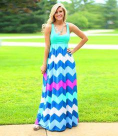 Mint Chevy Chevron Dress Tank Maxi Dress FREE SHIPPING