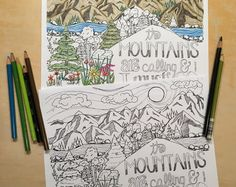 The Mountains are Calling - John Muir - Coloring Page - Etsy - JunePoppiesDesigns