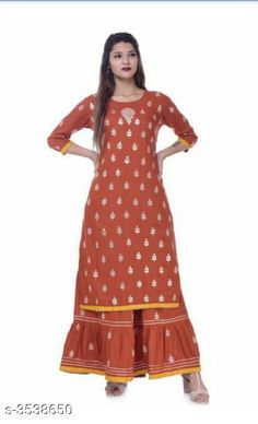 Kurta Sets Women's Embroidered Rayon Kurta with Sharara Fabric: Kurti - Rayon Sharara - Rayon Size: Kurti - 38 in 40 in 42 in 44 in Sharara - 30 in 32 in 34 in  36 in Length: Kurti  - Up To 40 in  Sharara - Up To 38 in Type: Stitched Description: It Has 1 Piece Of Kurti & 1 Piece Of Sharara Color: Brown Work: Kurti - Gota Work Sharara - Gota Work Country of Origin: India Sizes Available: 38, 40, 42, 44   Catalog Rating: ★4.3 (592)  Catalog Name: Women's Embroidered Rayon Kurta Set with Sharara CatalogID_492958 C74-SC1003 Code: 766-3538650-