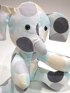 Stuffed Elephant Aqua Gray Plush Toy Michael Miller Disco Dot Haze Baby Nursery Decor Modern. $18.50, via Etsy.