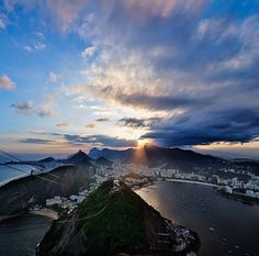 """""""Sugarloaf this beautiful picture of the sunset in Rio"""" Brazil, Beautiful Pictures, Mountains, Sunset, Nature, State, City Landscape, Amazing Pictures, Rio De Janeiro"""