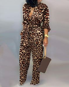 Style:Fashion Pattern Type:Leopard Material:Polyester Neckline:Deep V Neck Sleeve Style:Long Sleeve Length:Long Occasion:Casual Package Note: There might be difference according to manual measurement. Please check the measurement char. Trend Fashion, Look Fashion, Fashion Outfits, Womens Fashion, Fashion Pants, Rompers Women, Jumpsuits For Women, Fashion Jumpsuits, Fashion Pattern