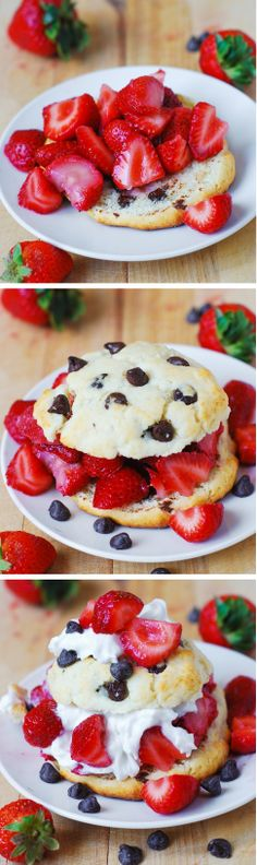 Chocolate chip strawberry shortcakes. It's like eating huge, crispy on the outside and soft on the inside chocolate chip cookies with strawberries and syrup!