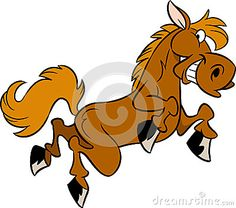 The illustration shows a few funny cartoon horse isolated on a white background, on separate layers.
