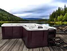 A hot tub and swim spa in one! Foot Exercises, Family Fitness, Outdoor Furniture, Outdoor Decor, Relax, Swimming, Backyard, Hot Tubs, Landscape
