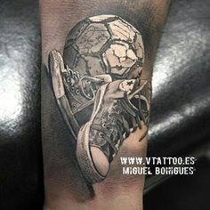 @vtattoo.spain.official - Realistic black and Grey sneakers & soccer ball #realistictattoo #blackandgreytattoo #blackandgreysociety
