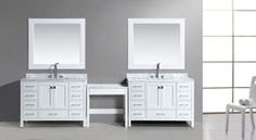 Buy the Design Element White Direct. Shop for the Design Element White London Free Standing Vanity Set with Marble Tops, Two Undermount Sinks, Two Matching Mirrors and Make-Up Table and save. 72 Vanity, Single Sink Vanity, Modern Vanity, Vanity Sink, Modern Bathroom, Bathroom Vanities, Bathrooms, Quartz Vanity Tops, Free Standing Vanity