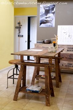 Oh sweet lord... LIPSTICK AND A WHITE TEE: DIY Rustic Desk with Stained IKEA Legs