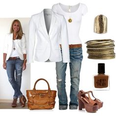 Casual Outfit- Love the white blazer/shirt with jeans! Casual Outfit- Love the white blazer/shirt with jeans! Mode Outfits, Jean Outfits, Casual Outfits, Outfits 2016, Classy Outfits, Basic Outfits, Skirt Outfits, Spring Summer Fashion, Spring Outfits