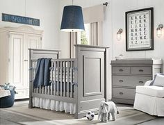 white, grey and navy nursery - i like how the crib is in the middle