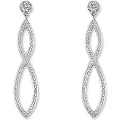 Thomas Sabo Glam soul white pave long earrings ❤ liked on Polyvore featuring jewelry, earrings, thomas sabo jewellery, white earrings, pave earrings, long earrings and thomas sabo