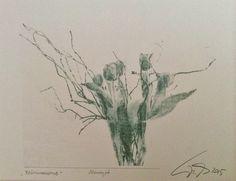 frühlingsgruß, monotypie, wachspapier, tinte, 30.5.15