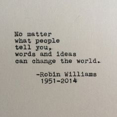 Robin Williams Quote Typed on Typewriter  4x6 by LettersWithImpact, $9.99