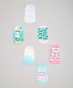 Love this LaDeDa Socks Blue Mermaid Cat & Flamingos Sublimation No-Show Socks Set - Kids by LaDeDa Socks on #zulily! #zulilyfinds
