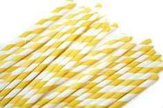 Yellow striped paper straws for drinks!