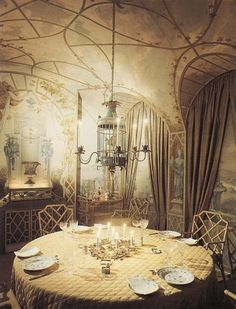 Room of the Day ~ amazing dining space by Elsie de Wolfe.  Love the wall art, chairs, chandelier...6.2.2013