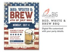 Red White & Brew 4th of July BBQ Invite  by DreamBigDesignsLLC