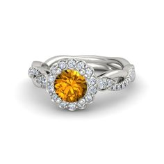 The Lucinda Ring customized in citrine, diamond and white gold