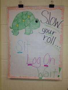 I work with K-4th grade in a computer lab. The kids come to the lab fired up and so eager to play they often get ahead of me before I can get everyone settled and begin the lesson.  So I made up an acronym and this poster to remind them to slow down and wait for instructions.
