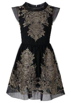 Organza Embroidery Black Dress