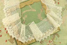 Lace, Crochet & Doilies Antiques White Cotton The Best Antique Handmade Lace Collar Geometric Flowers