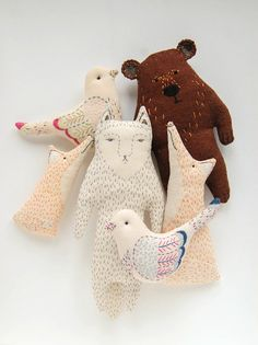 woodland tale embroidered plushs by Kate Akatombo