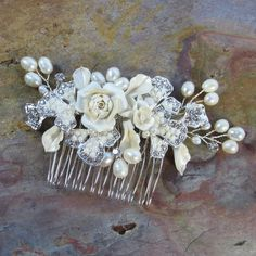 Pearl Flower Bridal Comb Maya Bridal hair comb by adrianasparksacc