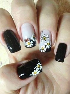 Black Nails, White Floral, Bee and Lady Bug Nail Design