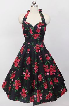 Hell Bunny Cannes Halter Dress in Black Floral