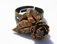 The best Gold Ring, Rose Ring, Rhinestone Ring, Adjustable Ring, Gold Rose Ring, Upcycled Ring, Recycled Earring, Gift For Women, Gift Under 10, OOAK are selling out fast so don't miss this opportunity! https://www.etsy.com/listing/231251807/gold-ring-rose-ring-rhinestone-ring?utm_source=socialpilotco&utm_medium=api&utm_campaign=api  #jewelry #ring