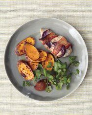 Broiled Bacon-Wrapped Chicken with Sweet Potatoes and Watercress (leave out sugar)