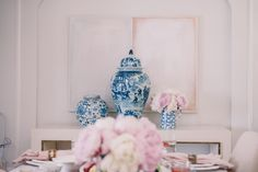 Gal Meets Glam Summer Spread - Blue Vases c/o Horchow
