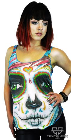 Day of the Dead Top Cotton Jersey Racer Tank Top Cybergoth, Future Fashion, Top P, Day Of The Dead, Colorful Shirts, Disney Characters, Fictional Characters, Halloween Face Makeup, Clothes For Women
