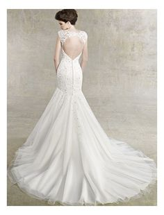Lace Wedding Dresses with Sleeves | Lace V-Neckline Mermaid Wedding Dress with Cap Sleeves - Bridal Gowns ...