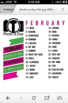 Feb. 2013 Photo Challenge List for Instagram