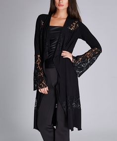 Black Lace-Panel Open Cardigan
