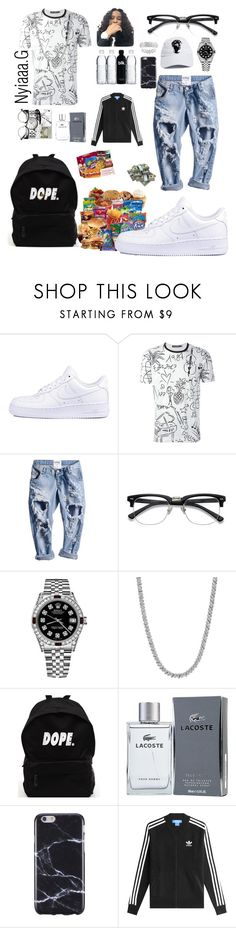 """""""Stud 🖤✨"""" by pvppi-nyiaaa ❤ liked on Polyvore featuring NIKE, Dolce&Gabbana, Rolex, Lacoste, FingerPrint Jewellry and adidas Originals"""