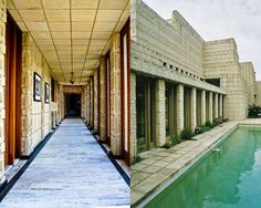 Ennis House / Frank Lloyd Wright. Images © Flickr Users Troy Holden (left) and curls q (right)