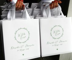 6c21f6e5db1 30 Greenery Wedding Welcome Bags with satin ribbon handles and your names
