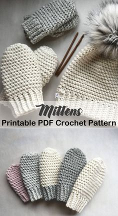 Cozy Mittens Crochet Patterns – Great Cozy Gift - A More Crafty Life -crochet mitten pattern Crochet Mittens Pattern, Bonnet Crochet, Crochet Beanie, Crochet Stitches, Knitting Patterns, Crochet Patterns, Crochet Baby Mittens, Knitting Tutorials, Hat Patterns