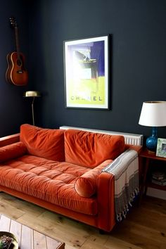 Orange Couch Living Room - orange Couch Living Room, 23 Living Rooms with Bold orange sofas Messagenote Orange Furniture Living Room, Living Room Orange, Black Living Room, Apartment Living, Living Room Designs, Apartment Living Room, Living Room Sofa, Couches Living Room, Burnt Orange Living Room