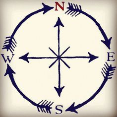 "I like the idea of the arrows going around the compass, to me it almost says ""wherever the wind blows me"". Have that quote in the inside of the compass circle. Trendy Tattoos, New Tattoos, Cool Tattoos, Tatoos, Sextant Tattoo, Simple Compass Tattoo, Tattoo Simple, Petit Tattoo, Rosen Tattoos"